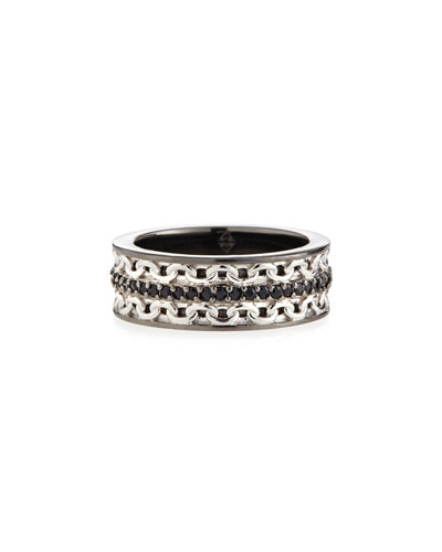 Men's Silver Ring with Black Sapphire
