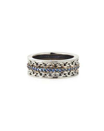 Stephen Webster Men's Silver Ring with Blue Sapphire