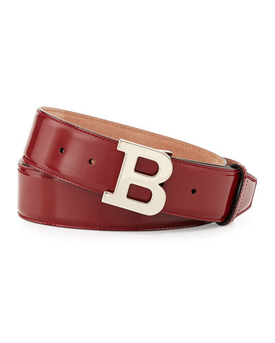 Bally Patent B-Buckle Belt, Red