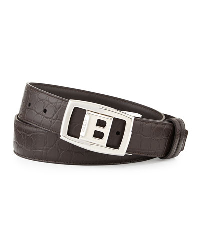 Croc-Embossed Reversible Belt, Dark Brown