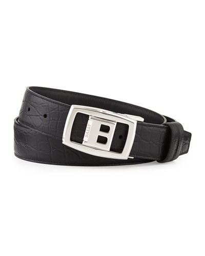 Croc-Embossed Reversible Belt, Black