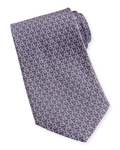 Interlock-Gancini Woven Tie, Gray