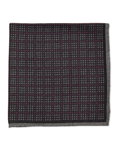 Grid Check Pocket Square, Burgundy