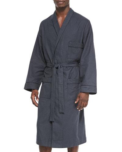 Micro-Check Cotton Robe