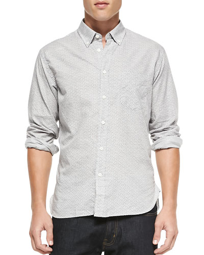 Rosedale Button-Down Micro-Print Shirt, Cream/Navy/Orange
