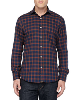 Checkered Sport Shirt, Navy/Red