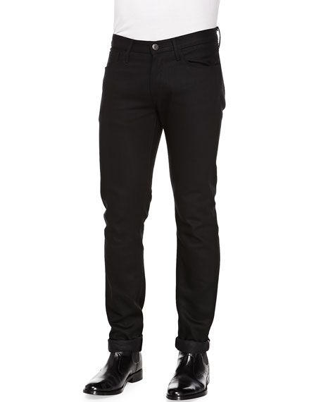 M5 Raw Slim Selvedge Denim Jeans, Black