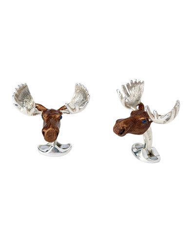 Sterling Silver Moose Cuff Links