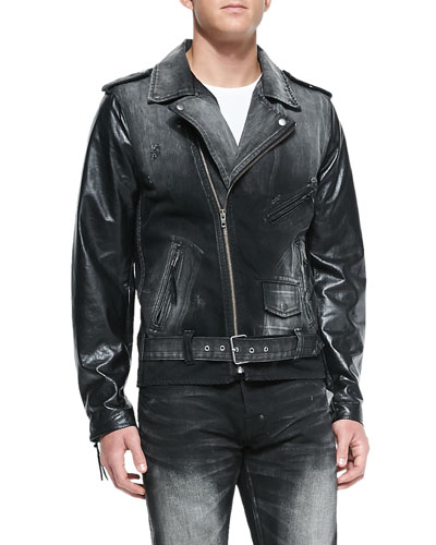 Cruiser Denim Moto Jacket with Leather Sleeves