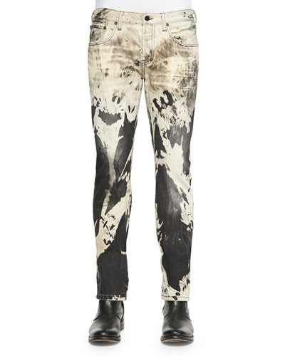 Abstract Bleached Slim Denim Jeans, Black