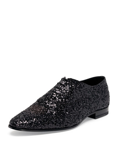 Sequined Lace-Up Shoe, Black