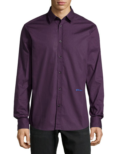 Long-Sleeve Dress Shirt, Plum
