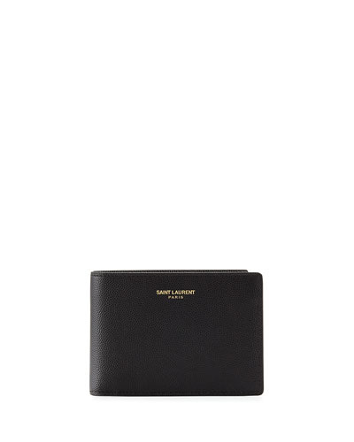 Grained Leather Bifold Wallet, Black