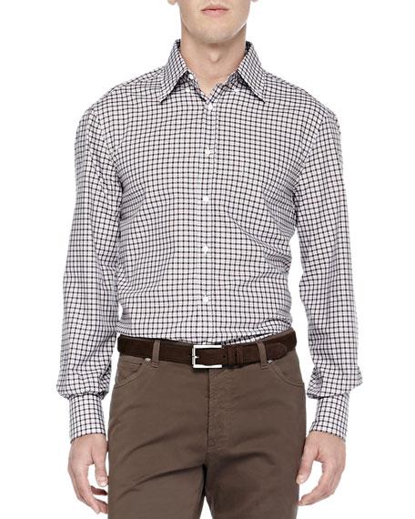 Brunello Cucinelli Long-Sleeve Check Shirt, Brown/Blue
