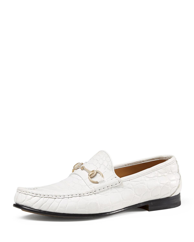 dacc7eb4fa8 Gucci Men s Crocodile Horsebit Loafer
