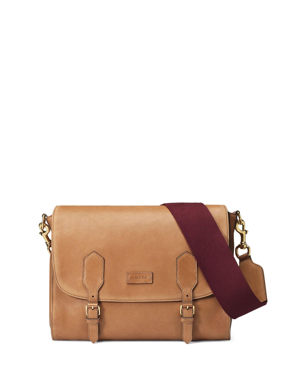d06e3aca546379 Gucci Men's Washed Leather Messenger Bag, Brown   Neiman Marcus