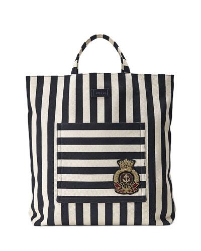 Men's Striped Cotton/Linen Canvas Tote Bag, Blue/White