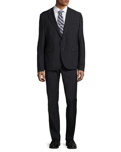 Two-Button Merino Wool Suit, Black
