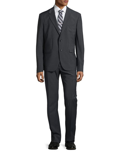 Two-Button Merino Wool Suit, Dark Charcoal