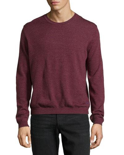 Long-Sleeve Crewneck Wool Sweater