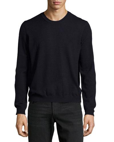 Crewneck Merino Sweater, Blue Navy
