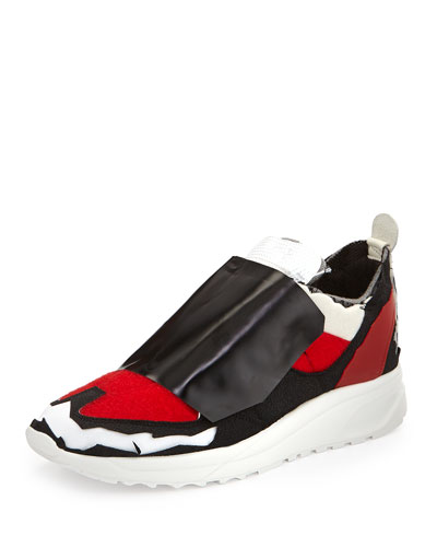 Runway Deconstructed Tennis Shoe, White/Red