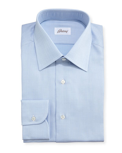 Textured Micro-Check Dress Shirt