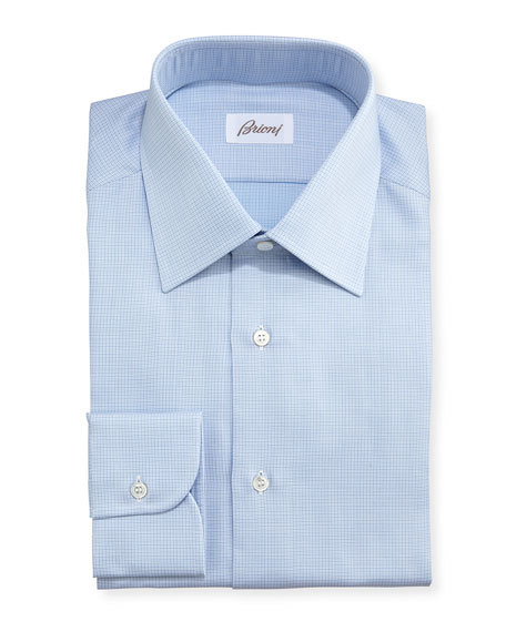 brioni textured micro check dress shirt