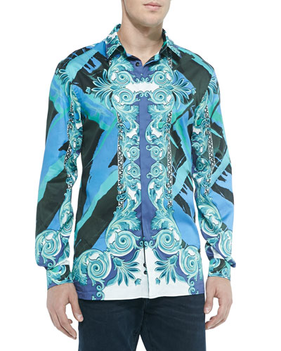 Baroque-Print Sport Shirt, Teal