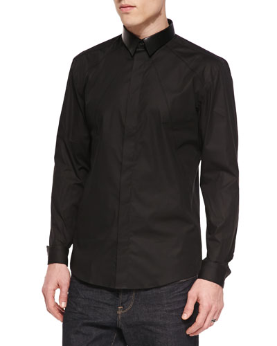 Stretch-Fit Poplin Shirt, Black