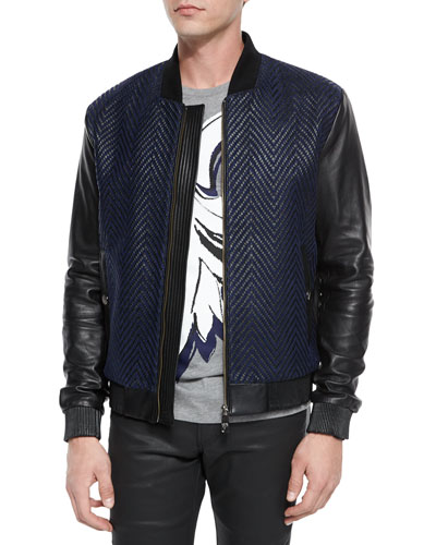 Textured Chevron Jacket with Leather Sleeves, Navy/Black