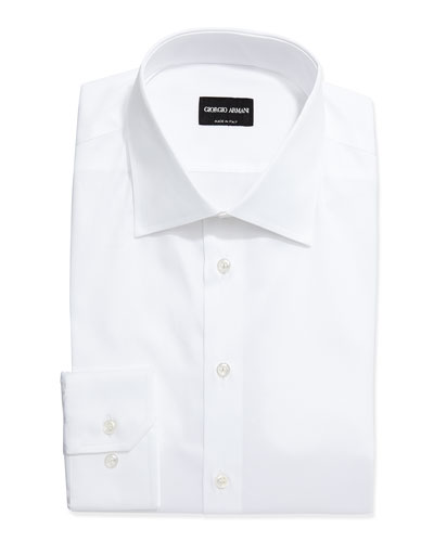 Long-Sleeve Basic Dress Shirt, White