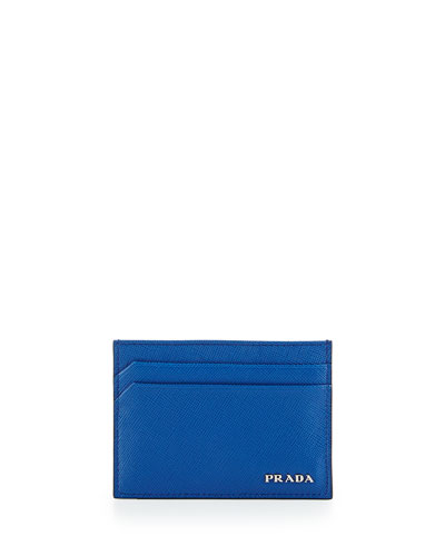 Textured Leather Card Case, Bright Blue