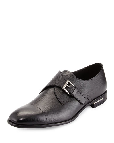 Saffiano Leather Single-Monk Shoe, Black