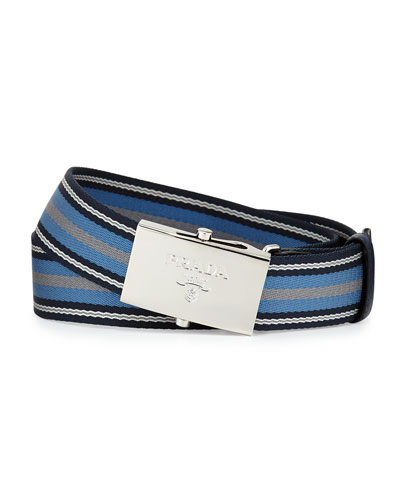 Striped Web Belt, Blue/Light Blue