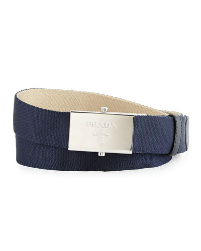 Webbed Reversible Belt, Blue/Tan