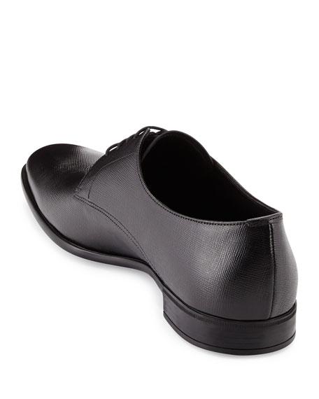 Saffiano Leather Lace-Up, Black