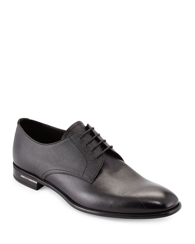 Saffiano Leather Lace-Up  Black