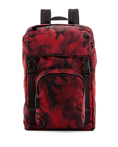 Nylon Double-Buckle Backpack, Red Camo
