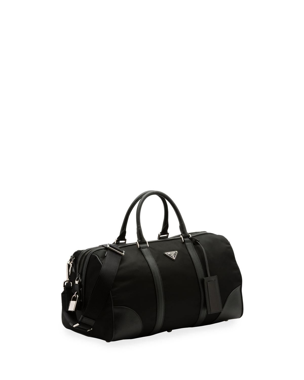 3a04b4a5d56cb4 Prada Nylon and Leather Duffel Bag, Black   Neiman Marcus