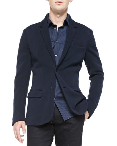 Two-Button Sweater Jacket, Indigo