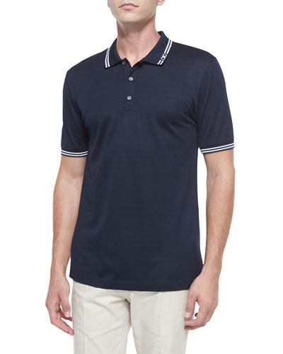 Tape-Tipped Short-Sleeve Polo, Blue