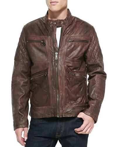 Leather Zip-Front Moto Jacket, Brown