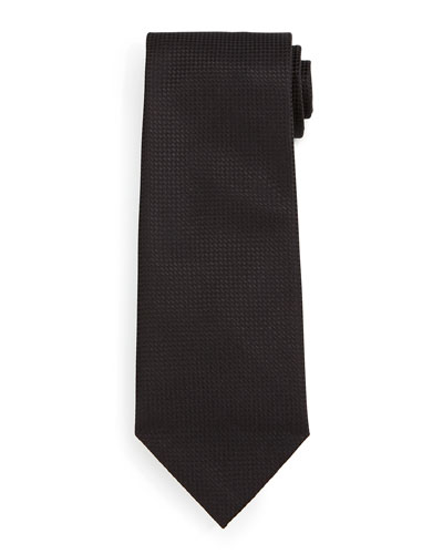 Micro-Check Silk Tie, Black