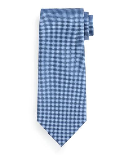 Micro-Check Silk Tie, Blue