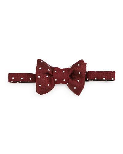 Polka-Dot Jacquard Bow Tie, Red/White