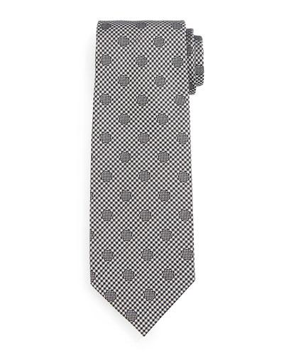 Tonal Polka-Dot Tie, Silver/Black