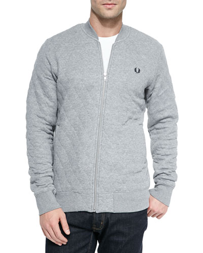 Quilted Bomber Jacket, Gray/Steel Marl