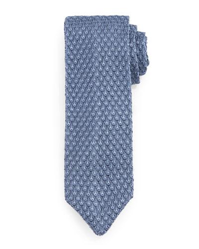Diamond-Pattern Knit Tie, Light Blue