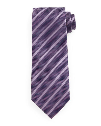Diagonal-Striped Tie, Purple